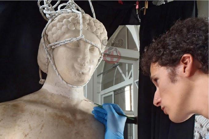 Ελληνικός κούρος  εξαιρετικής ομορφιάς  από τους Λεοντίνουςαποκαταστάθηκε στην Σικελία
