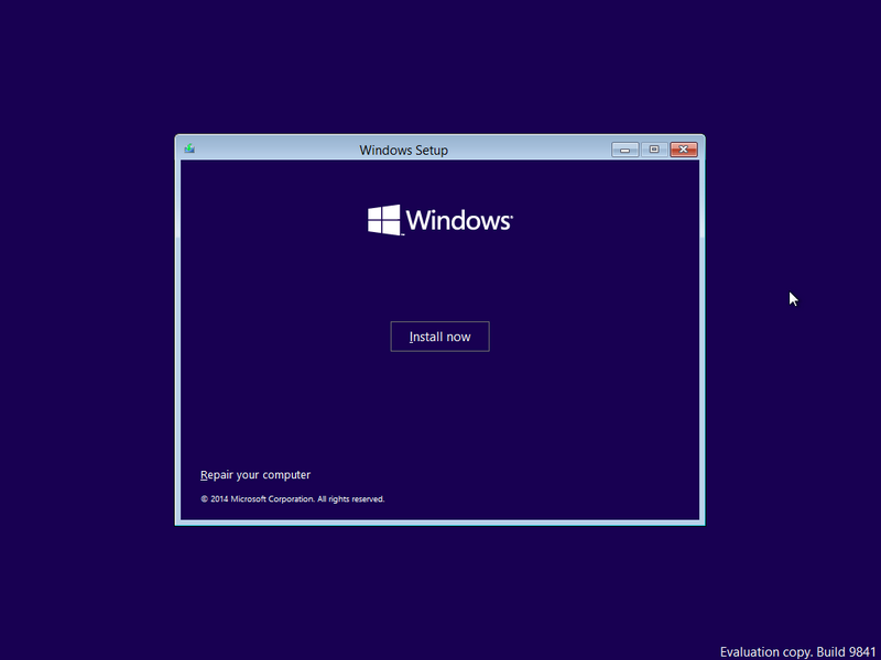 Install now Windows 10