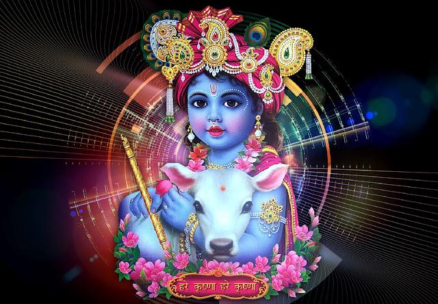 Best Lord Bal Krishna  Wallpaper In Black Background