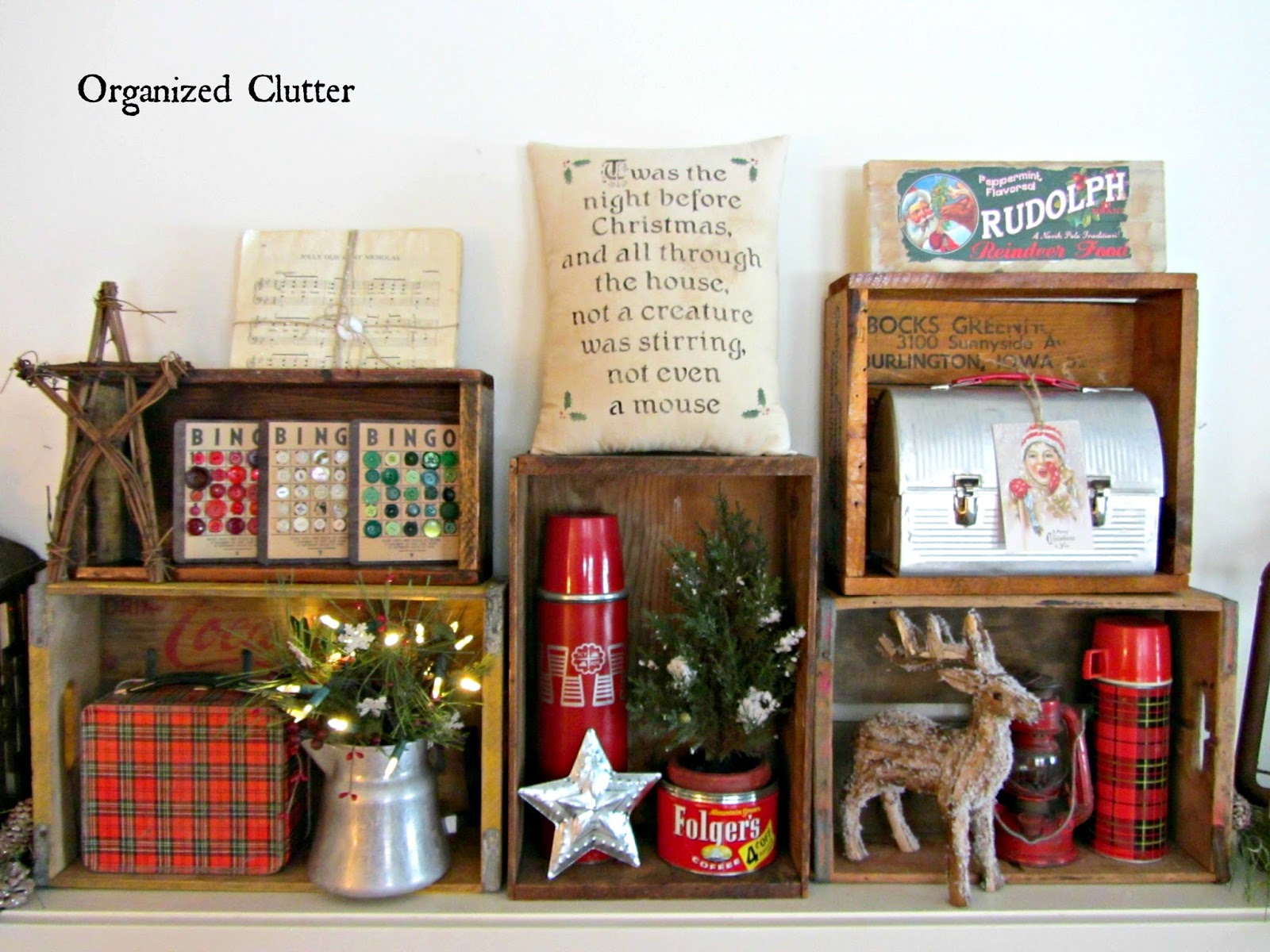an organized cluttered rustic crate christmas mantel organized clutter - Decorating Crates For Christmas