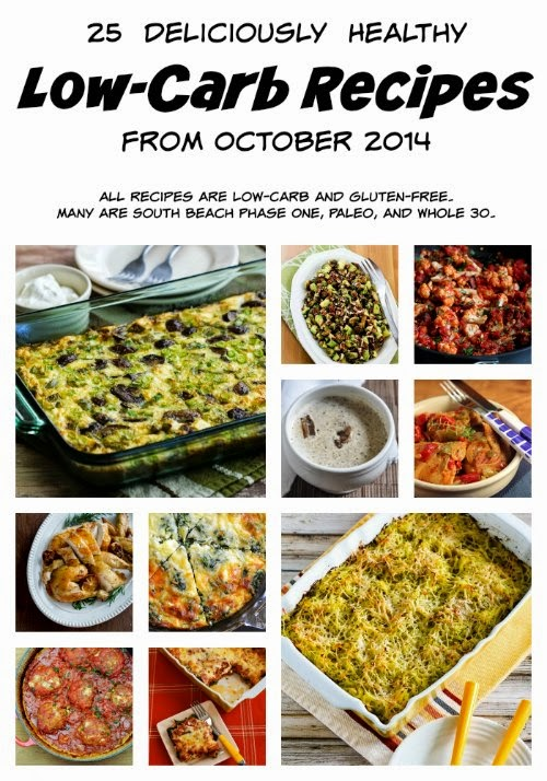 25 Deliciously Healthy Low-Carb Recipes from October 2014 (Gluten-Free, SBD, Paleo, Whole 30) found on KalynsKitchen.com
