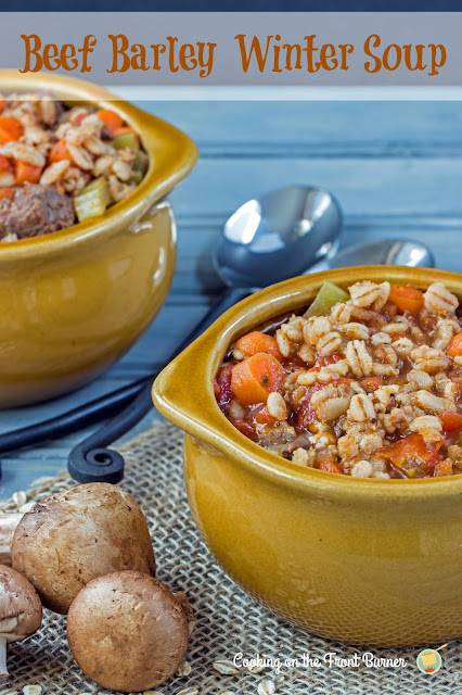 Beef Barley Winter Soup   Cooking on the Front Burner #Beefsoup #wintersoup