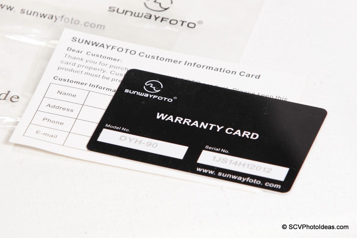 Sunwayfoto DYH-90 warranty & customer cards