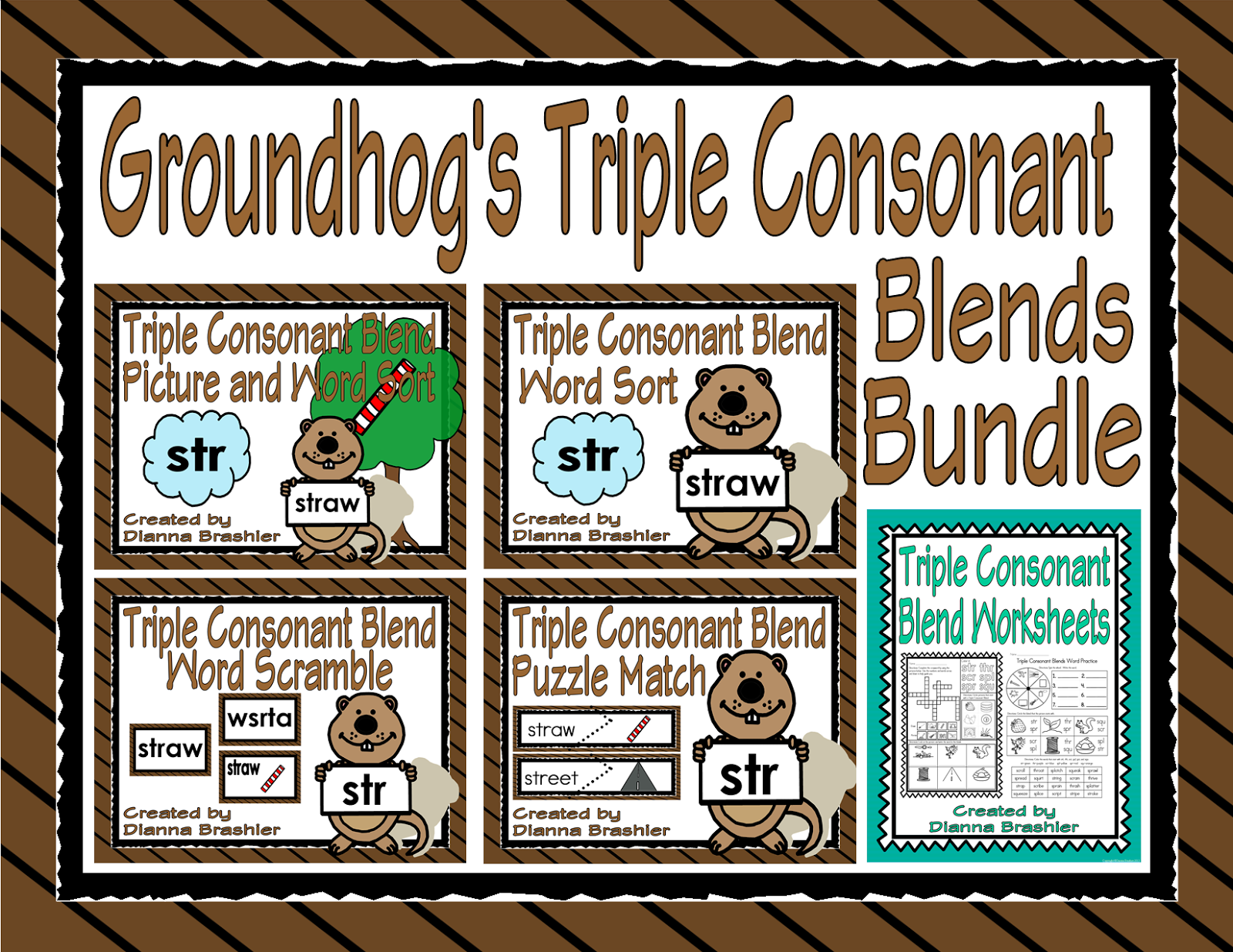 Teachers R Us Groundhog S Triple Consonant Blends Literacy Bundle With Assessment