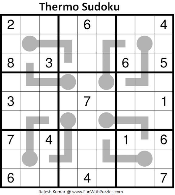 Thermometer Sudoku Puzzle (Fun With Sudoku #331)