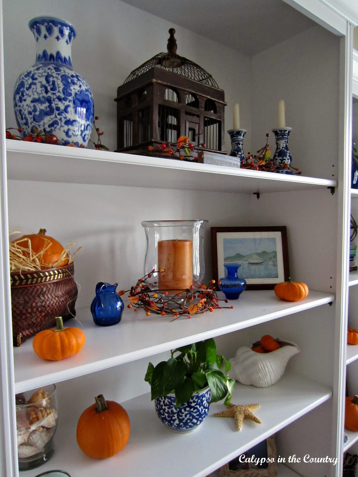 Decorating for fall with blue and orange