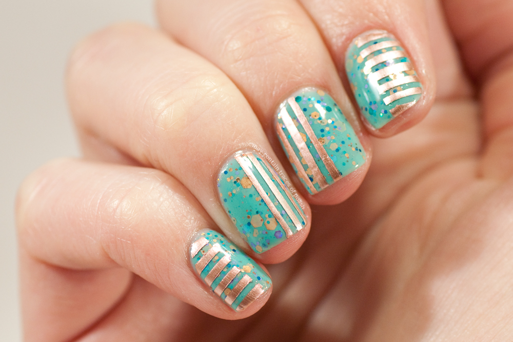 40 great nail art ideas turquoise nail art may contain traces must be the perfect colour match between the copper glitter and the copper tone of chrome rose if only i had some rose gold jewellery to wear with this prinsesfo Choice Image