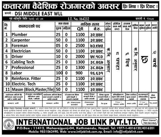 Free Visa, Free Ticket, Jobs For Nepali In QATAR, Salary -Rs.73,000/