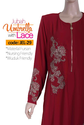 Jubah Umbrella Lace JEL-29 Red Depan 10