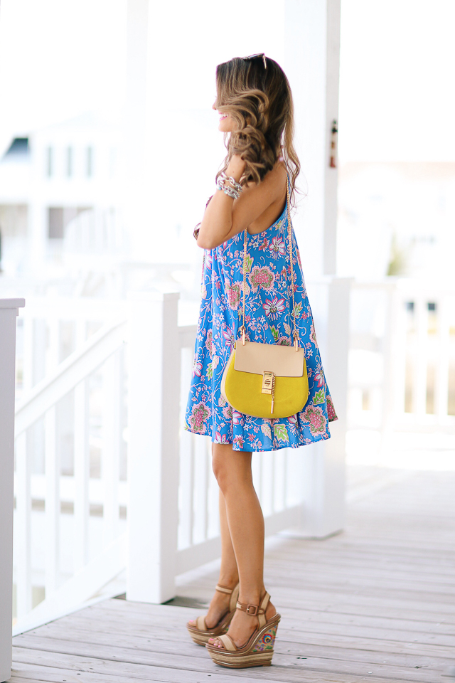 Blue dress yellow wedges jessica.