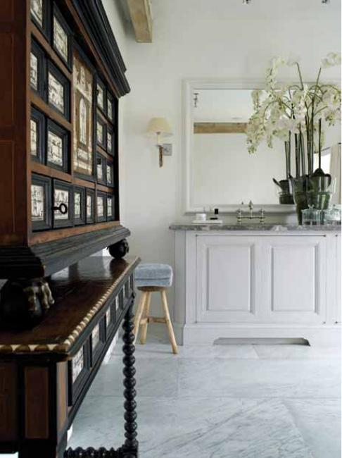 Garnier bathroom,a cabinet in ebony and ivory, with painted scenes, Portugal, seventeenth century image via Garnier (be) website as seen on linenandlavender.net