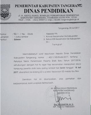 Surat edaran Disdik kabupaten Tangerang no . 421.1/1701-Disdik.KKO LEGOK