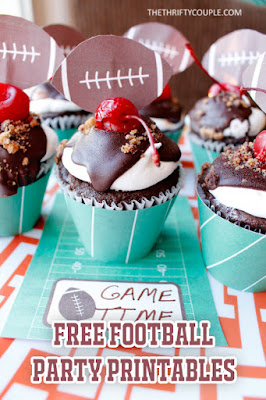 http://thethriftycouple.com/2016/01/29/football-tailgate-party-printables-football-cupcakes-place-cards-popcorn-boxes/