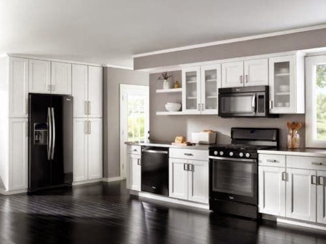 antique white kitchen cabinets with black appliances, Home Interior Gallery: Antique White Kitchen Cabinet