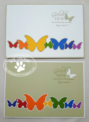Greeting card with colourful butterfly border; handmade by CardsNpaperart