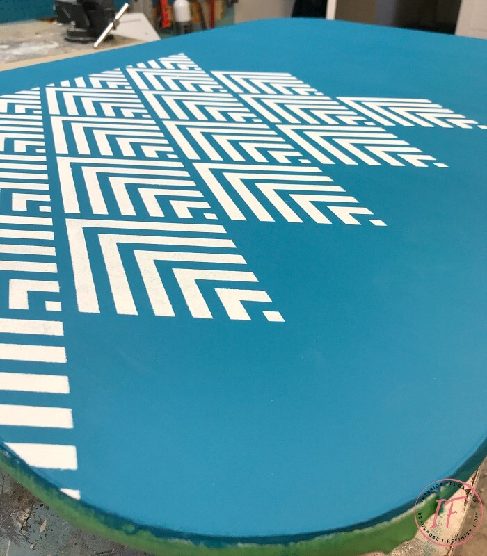 Arborite Retro Dining Table Stenciled With Geometric Pattern