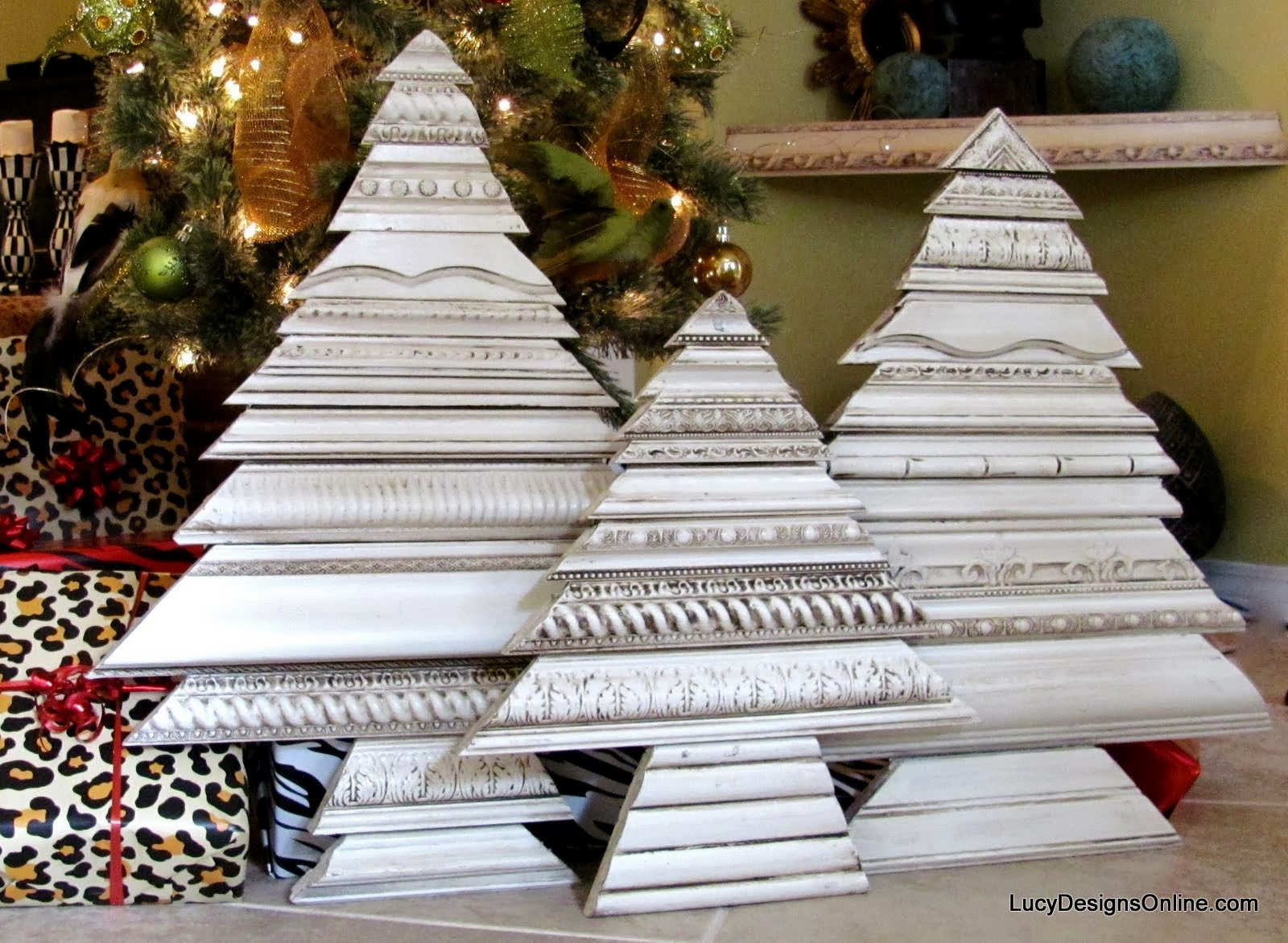 decorative molding Christmas tree sculptures Lucy Designs