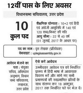 UP Vidhan Sabha Sachivalaya Recruitment uplegisassembly.gov.in