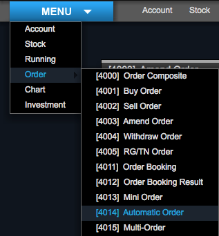 menu automatic order saham