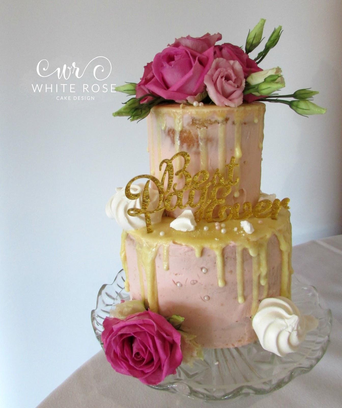 Pink Semi Naked Drippy Wedding Cake With Fresh Flowers White Rose