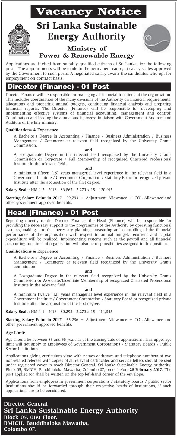 Sri Lankan Government Job Vacancies at Sri Lanka Sustainable Energy Authority for Director (Finance), Head (Finance)