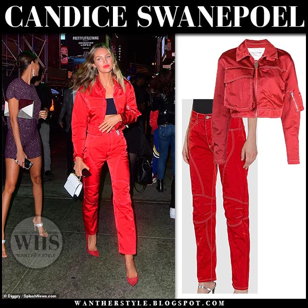 44dca1a2f Candice Swanepoel in red cropped jacket and red pants at Pre Met ...