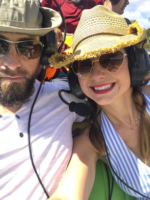Amy and David West take a selfie on an Air Boat