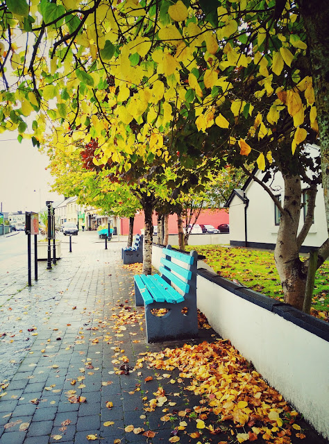 bench, under a tree, autumn, colourful, village, Oughterard, Galway