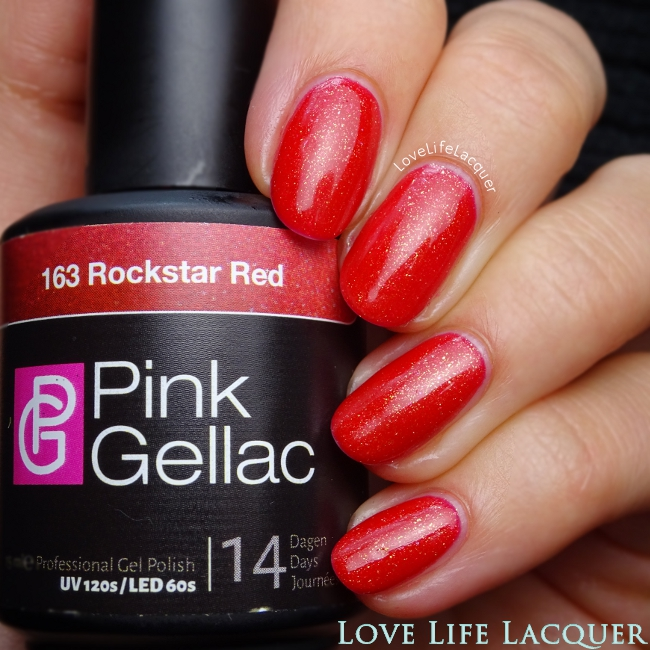 Pink Gellac Rockstar Red gel polish swatch