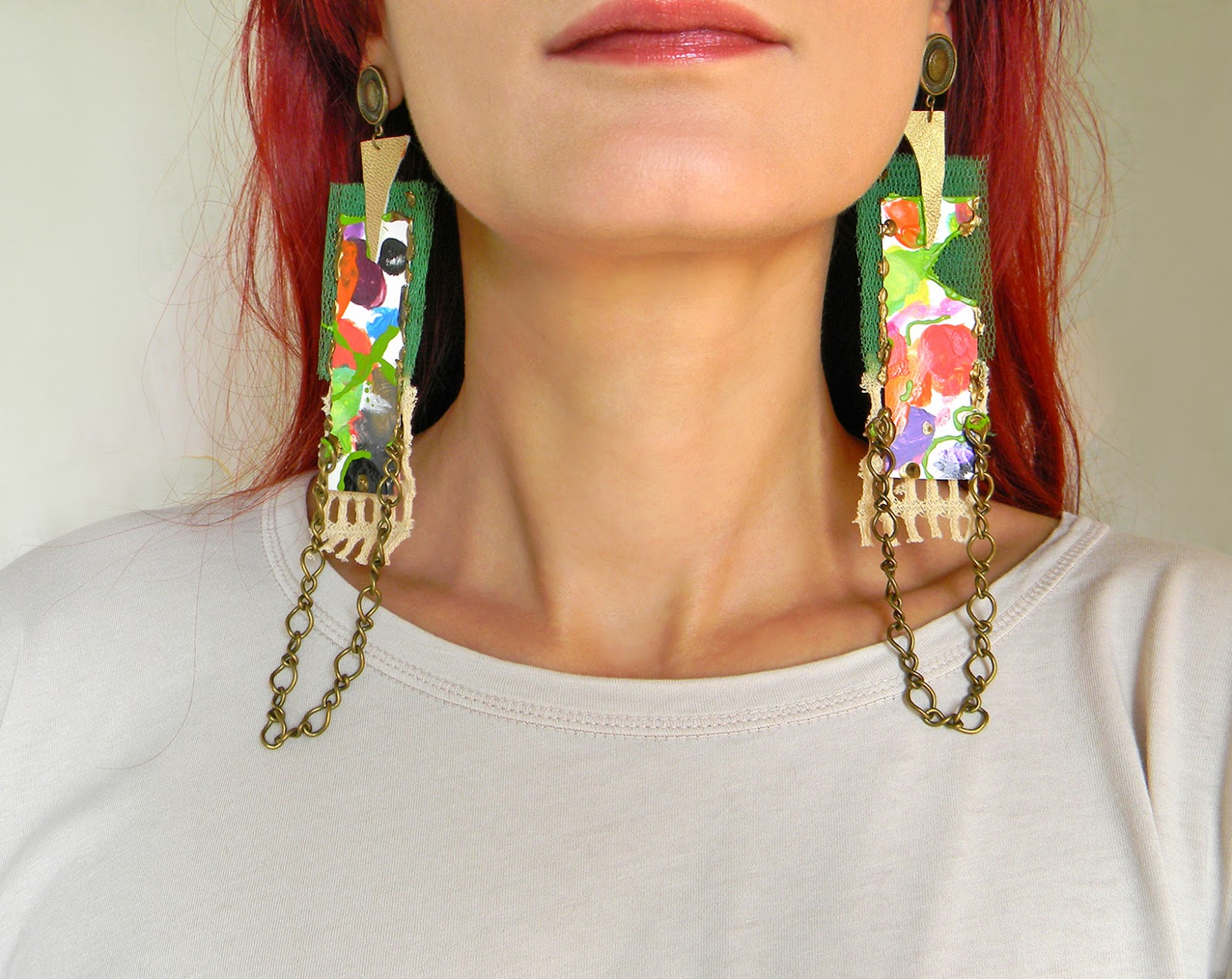 Oversized Hand Painted Earrings with Paper, Leather and Dangle Chain Applique