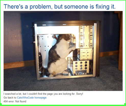 Cats Who Code, 404 page,