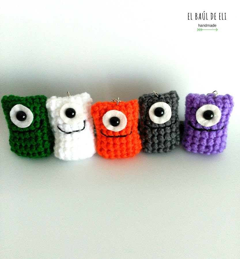 amigurumis, crochet, ganchillo, monstruos, lana, llaveros