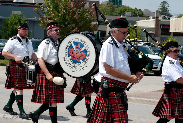 The Streetsville Pipe and Drum band participating in the 2015 Orillia Scottish Festival