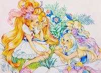maiden golden waves pixietails mermaid blue hair
