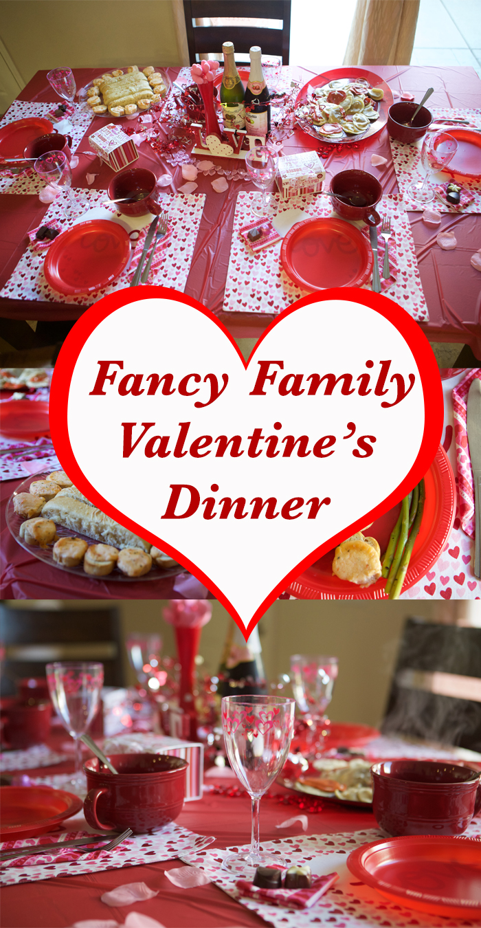 Dress up for dinner. Though taking your kids out to a romantic restaurant on Valentine's Day is insane (think of all those couples giving you mean looks because your toddler is squealing), you can have a romantic and totally fun family dinner at home.