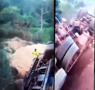 Caminhoneiro Cuiteense testemunha milagre após Carreta despencar de serra; assista ao vídeo