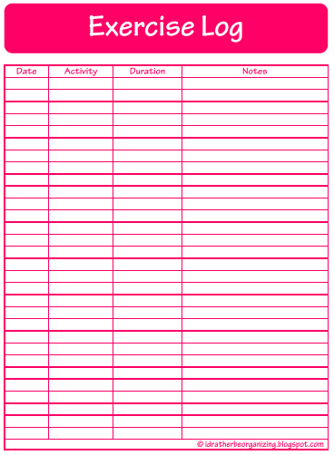 i d rather be organizing 52 weeks of printables week 17 exercise log