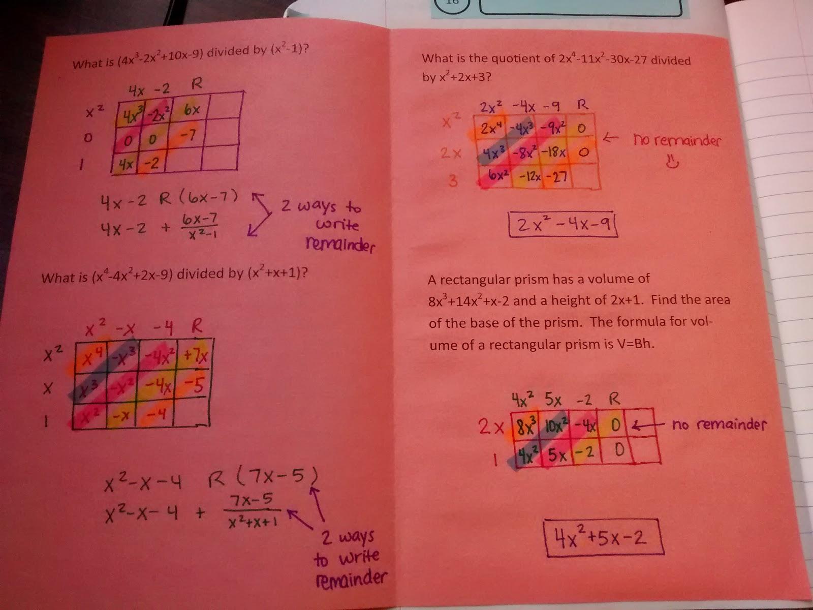 Math Love Dividing Polynomials Using The Box Method