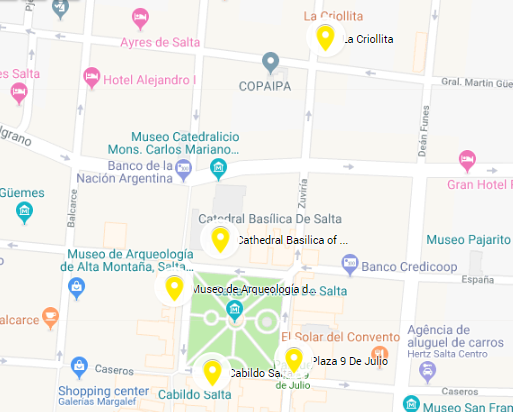 Mapa da região central de Salta, Argentina