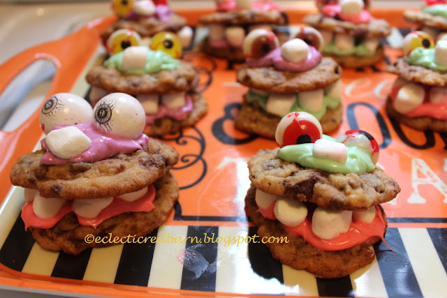 Halloween Monster Cookies. Share NOW #halloween #cookies #halloweentreats #eclecticredbarn