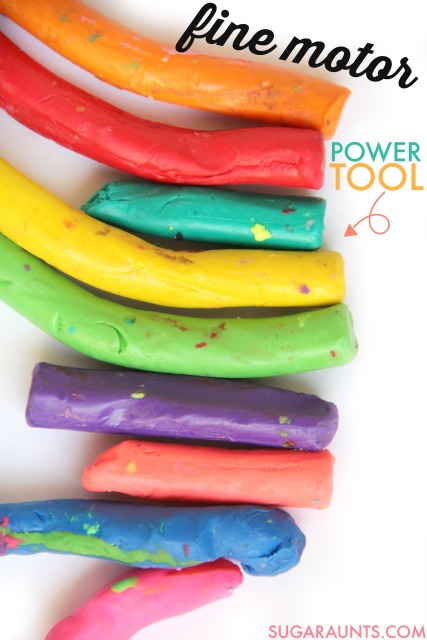 Clay fine motor activities to improve strength, scissor skills, and pencil grasp.