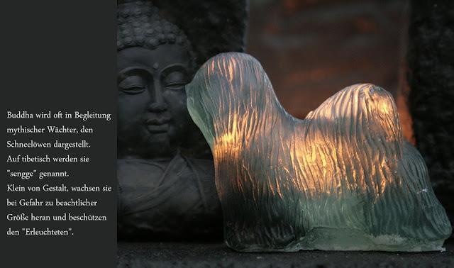 """Die mythischen Wächter von Buddha werden """"sengge"""" genannt."""