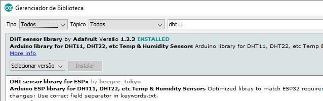 Biblioteca DHT11 Adafruit Arduino