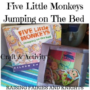 http://www.raisingfairiesandknights.com/five-little-monkeys-monthly-crafting-book-club/