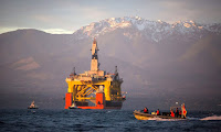 The Transocean Polar Pioneer, a semi-submersible drilling unit leased by Shell, was used to explore Arctic deposits. (Photograph Credit: Daniella Beccaria/AP) Click to Enlarge.