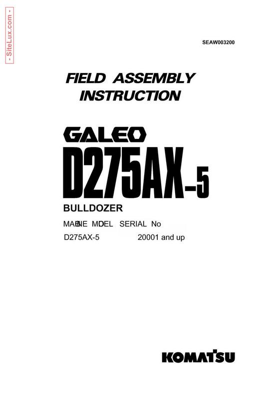 Komatsu D275AX-5 Bulldozer Galeo Field Assembly