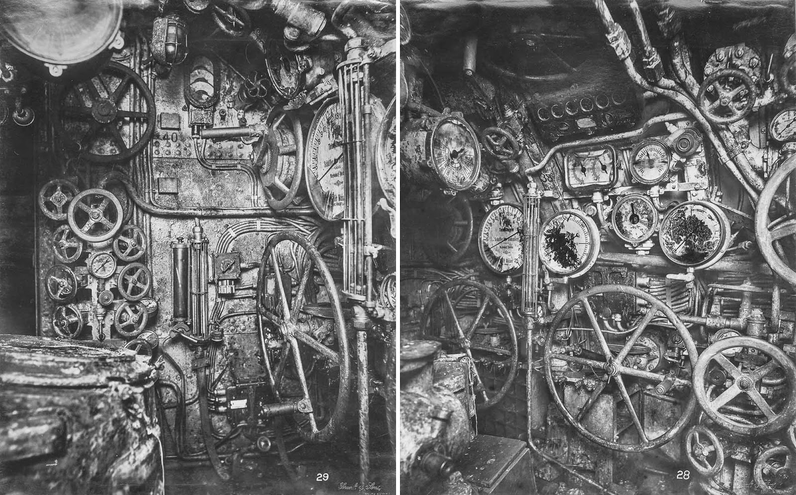 (Left) Control room looking forward. Hydroplane gear, depth and fuel gauges are visible, (Right) Control room looking forward. The depth gauge, engine telegraphs, wheels for flooding and blowing, and hydroplane controls are visible.