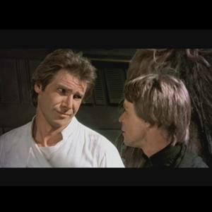 Star Wars Han Solo is giving Luke Skywalker a skeptical look.