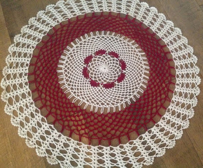 Ecru and Burgundy 26 Inch Crochet Table Centerpiece By DEMET on Etsy