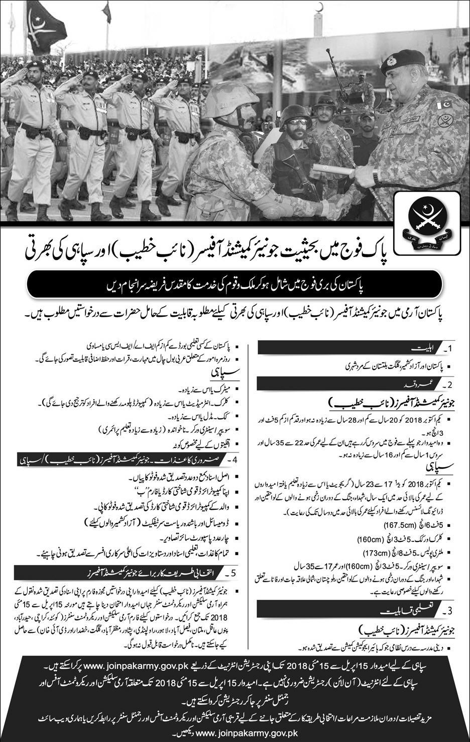 Join Pak Army as Junior Commissioned Officer and Soldier 2018